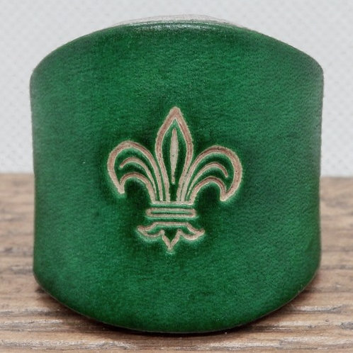Traditional Green Leather Scout Woggle - Fleur de Lis Motif