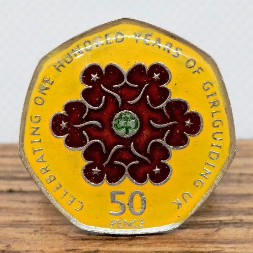 Enamelled Centenary of Guiding Woggle - Yellow and Brown