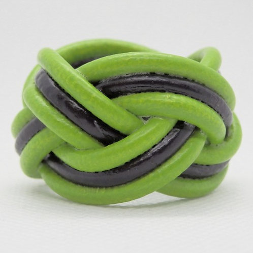 Pistachio Green and Black Small Leather Scout Woggle