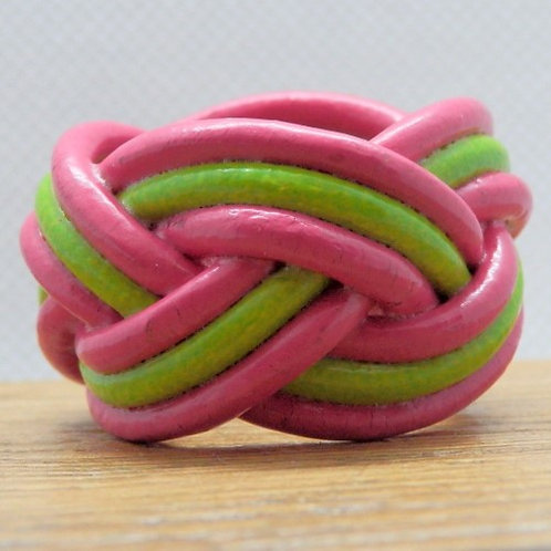 Hot Pink and Pistachio Small Leather Woggle