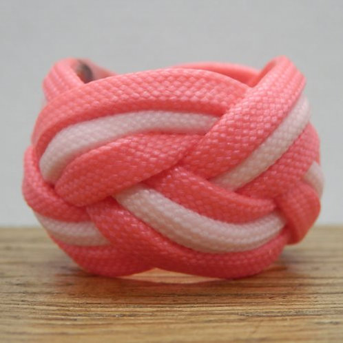 Pink and Glow in the Dark Rose Pink Small Paracord Woggle