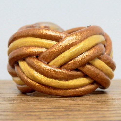 Bronze and Gold Small Leather Woggle