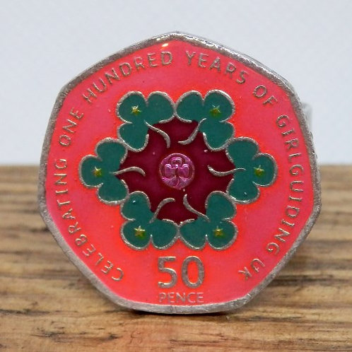 Enamelled Centenary of Guiding Woggle - Pink and Green