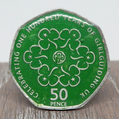 Enamelled Centenary of Guiding Woggle - Green