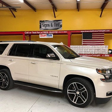 #2016tahoe tinted _greenvillesignsandtint #chevy #tahoe #suntek #suntekfilms _suntekfilms #tintlife😎🤙 #lifetimewarranty