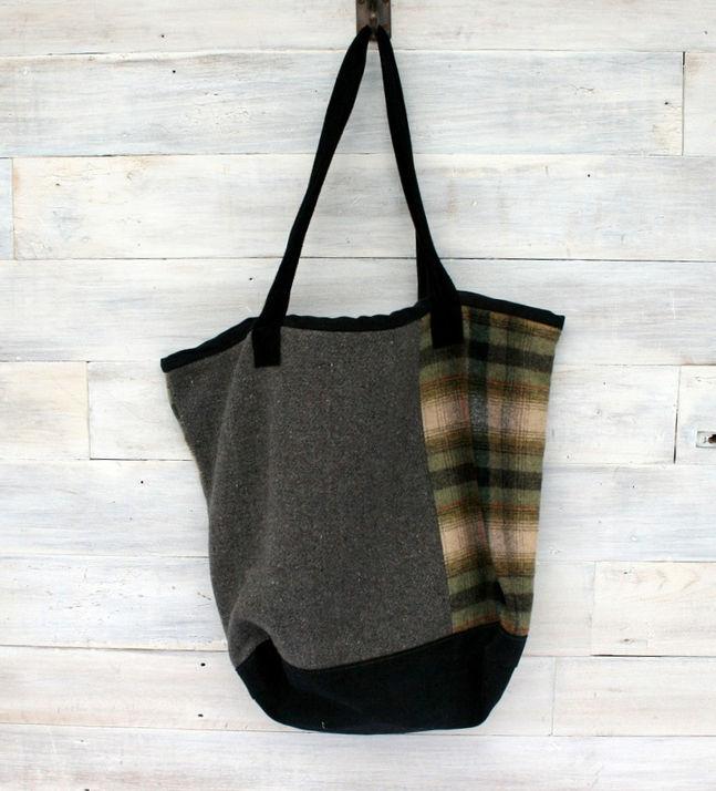 Denim and Wool Tote Bag $85