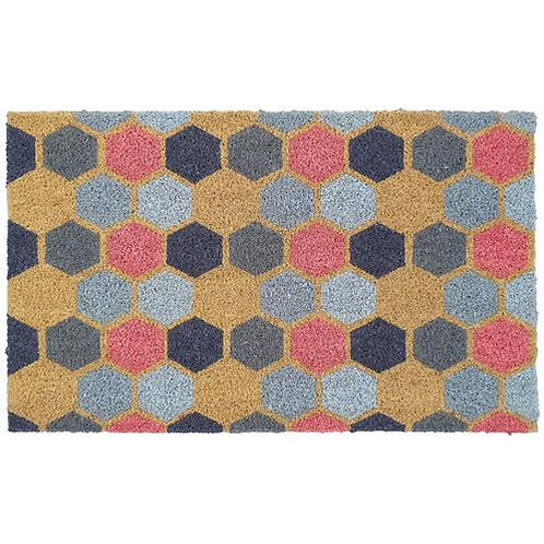 My Mat Printed Coir Doormat Geo 2 Hexagon