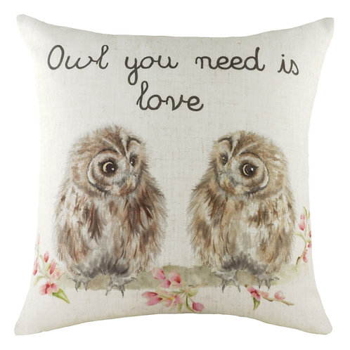 Hedgerow Owl You Need Is Love Cushion Multi 43cm x 43cm