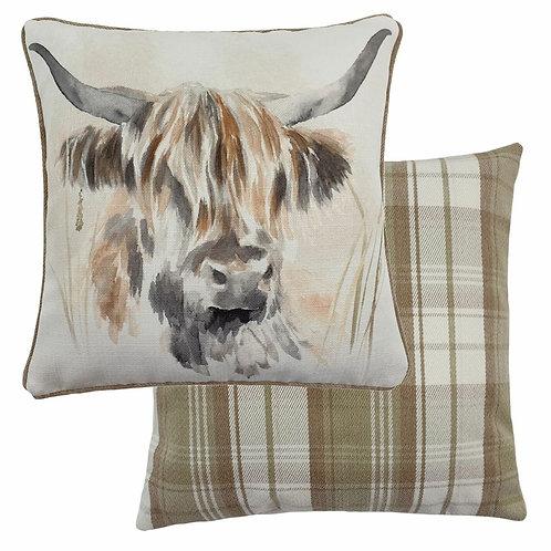 Watercolour Highland Cow Cushion Poly Fill 43cm x 43cm