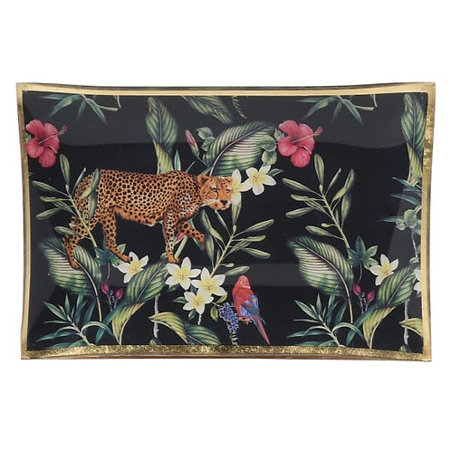 Black/Gold Leopard Tropical Trinket Tray