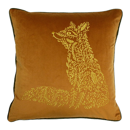 Forest Fauna Fox Cushion Rust/Gold Poly Fill 50cm x 50cm