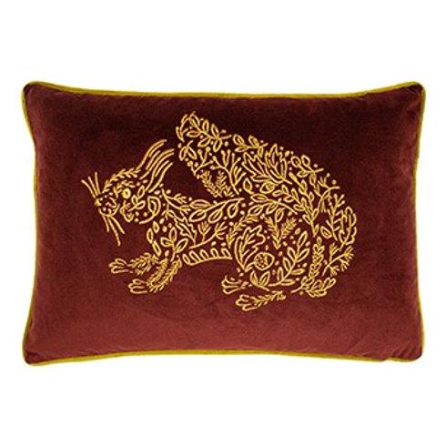 Forest Fauna Squirrel Cushion Burgundy/Gold Poly Fill 35cm x 50cm