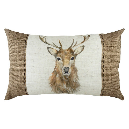 Hessian Stag Cushion Poly Fill 30cm x 50cm