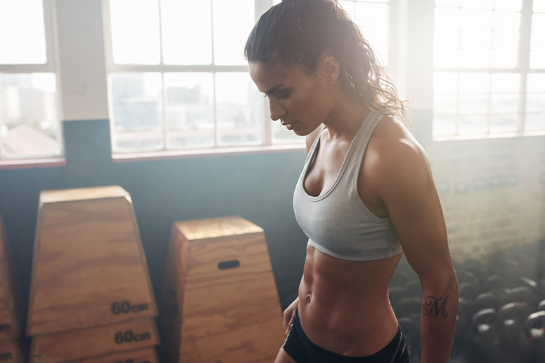 Fit female working out