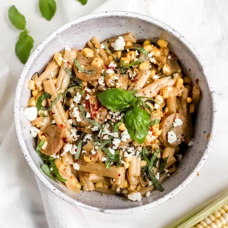 """Italian Sausage + Corn """"Garden"""" Pasta"""