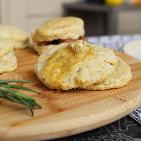 Fluffy Beer Biscuits w/ Rosemary Honey Butter