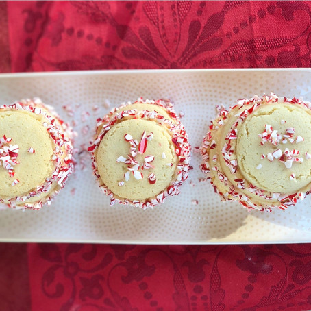 Peppermint Cookie Sandwiches with Bailey's Frosting