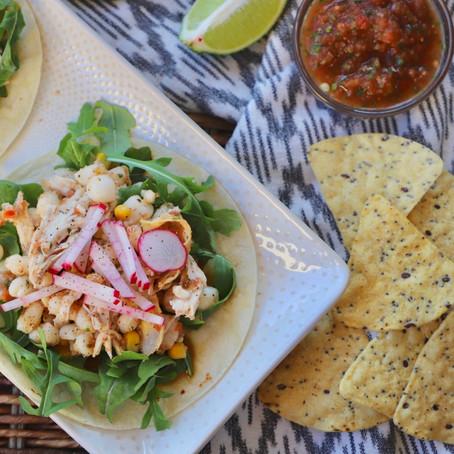 Rotisserie Chicken Tacos w/ Hominy