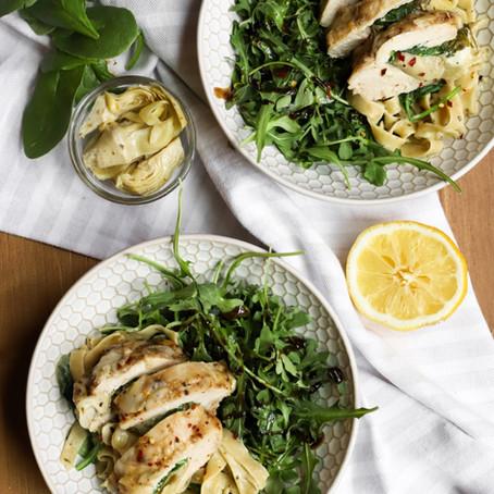 Spinach & Artichoke Dip Chicken w/ Pesto Pasta + Arugula Salad