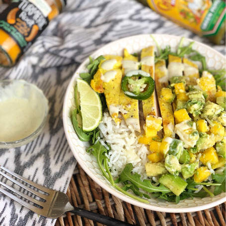 Turmeric Chicken Salad with Coconut Rice and Mango Salsa