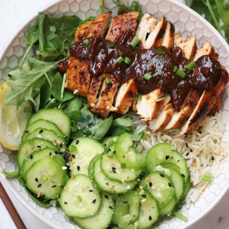 Korean Inspired BBQ Chicken & Rice Bowl