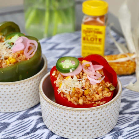 Elote and Turkey Stuffed Peppers
