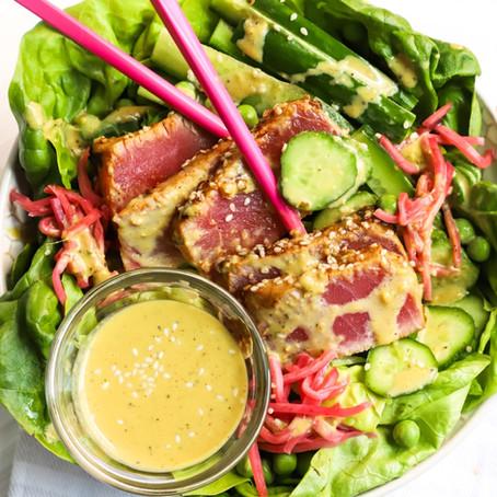 Ahi Tuna Salad w/ Wasabi Miso Dressing
