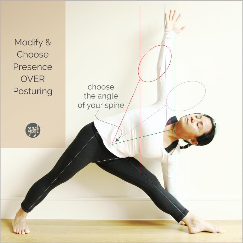 Modify and Choose Presence Over Posturing, Mad Yogi Workshop, mad yogi blog, safe and practical body angles, demystifying yoga, deconstructing yoga, mad yogi workshop blogs for safe and practical yoga