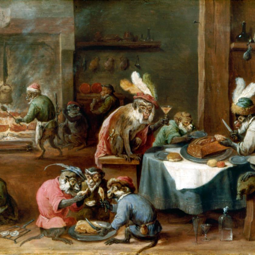 David Teniers le Jeune, Singes costumés prenant un repas, Staatsgalerie Aschaffenburg