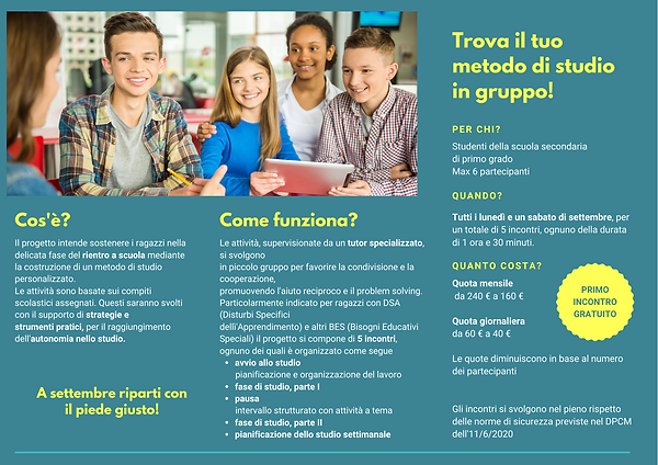 brochure tutoraggio compiti scuola media