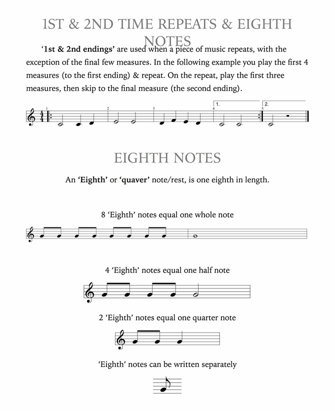 Understanding 1st & 2nd Time Endings, 8th Notes, Dotted Quarter Notes, and Relative Pitch