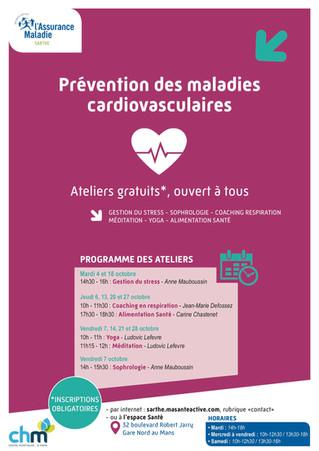 Prévention des maladies cardiovasculaires, retrouvons nous les 7, 14, 21 et 28 octobre pour pratique