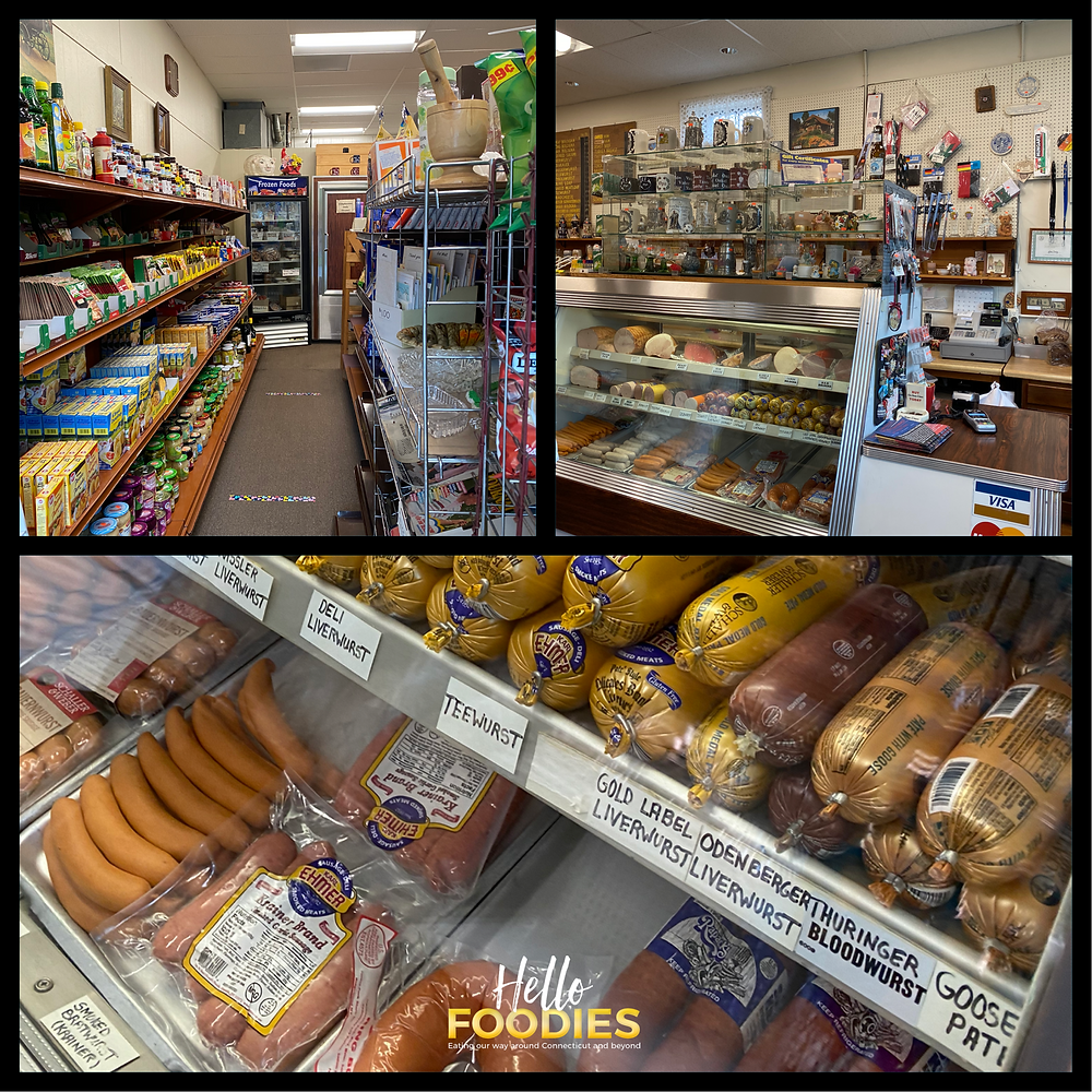 Inside of store and image of meats
