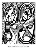 Coloriage-Pablo-Picasso-Femme-au-miroir-