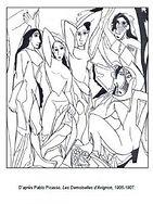 Coloriage-Pablo-Picasso-Les-Demoiselles-