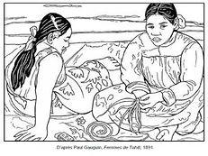 Coloriage-Paul-Gauguin-Femmes-de-Tahiti-
