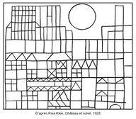 Coloriage-Paul-Klee-Château-et-soleil-3