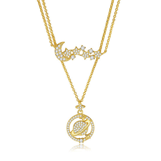 Saturn Necklace 18Ct Gold Plate