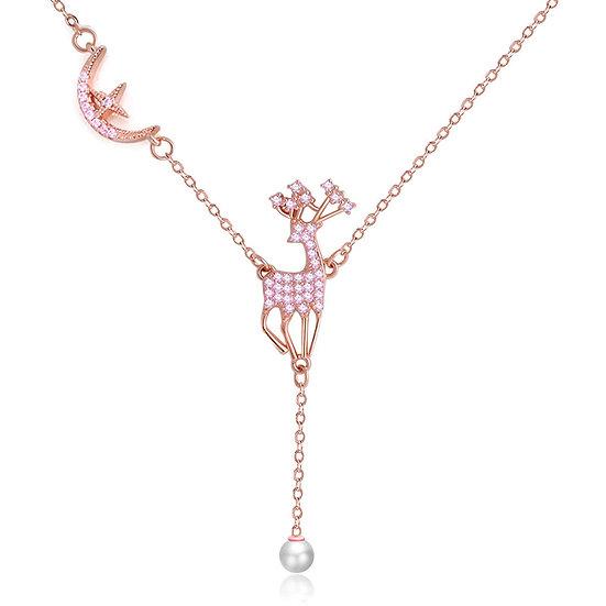 Deer necklace Pink