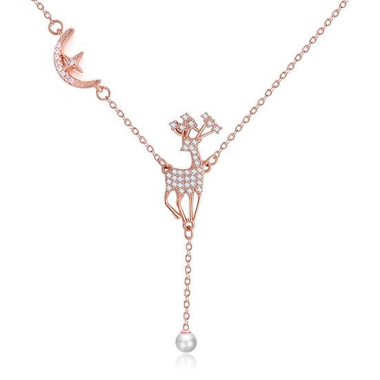 Deer necklace rosegold