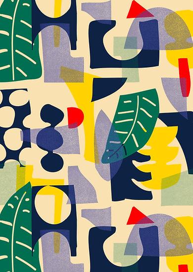 Palm Mustard Pattern Print