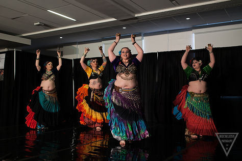 WSU Tri-Cities 25th Anniversary Celebration!  Counter clockwise from Left - BABD dancers, Lori Cook, Rebekah Lozano, Laurie Lulu Martin and from Seattle, guest dancer Adrian Garcia formerly of Sultana Dancers and Bare Naked Bellies/Greenwood Gypsies