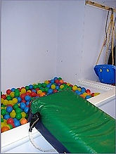 This is a picture of the colorful ball pit at The Kids' Communication Center, a private practice in Tenleytown, DC that provides speech-language therapy to kids or children.