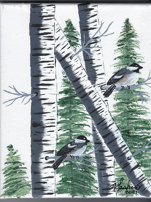 Forest of Birch and Birds