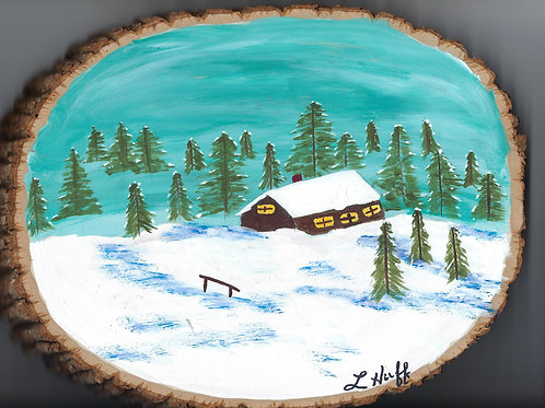 Cabin Scene on Wood