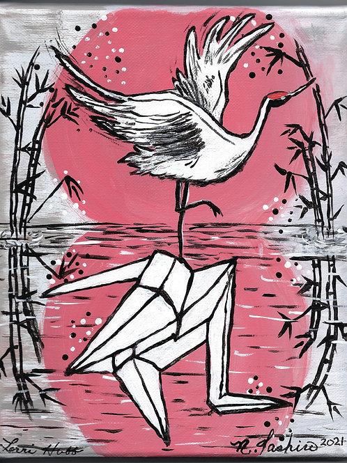 Reflection of a Japanese Crane