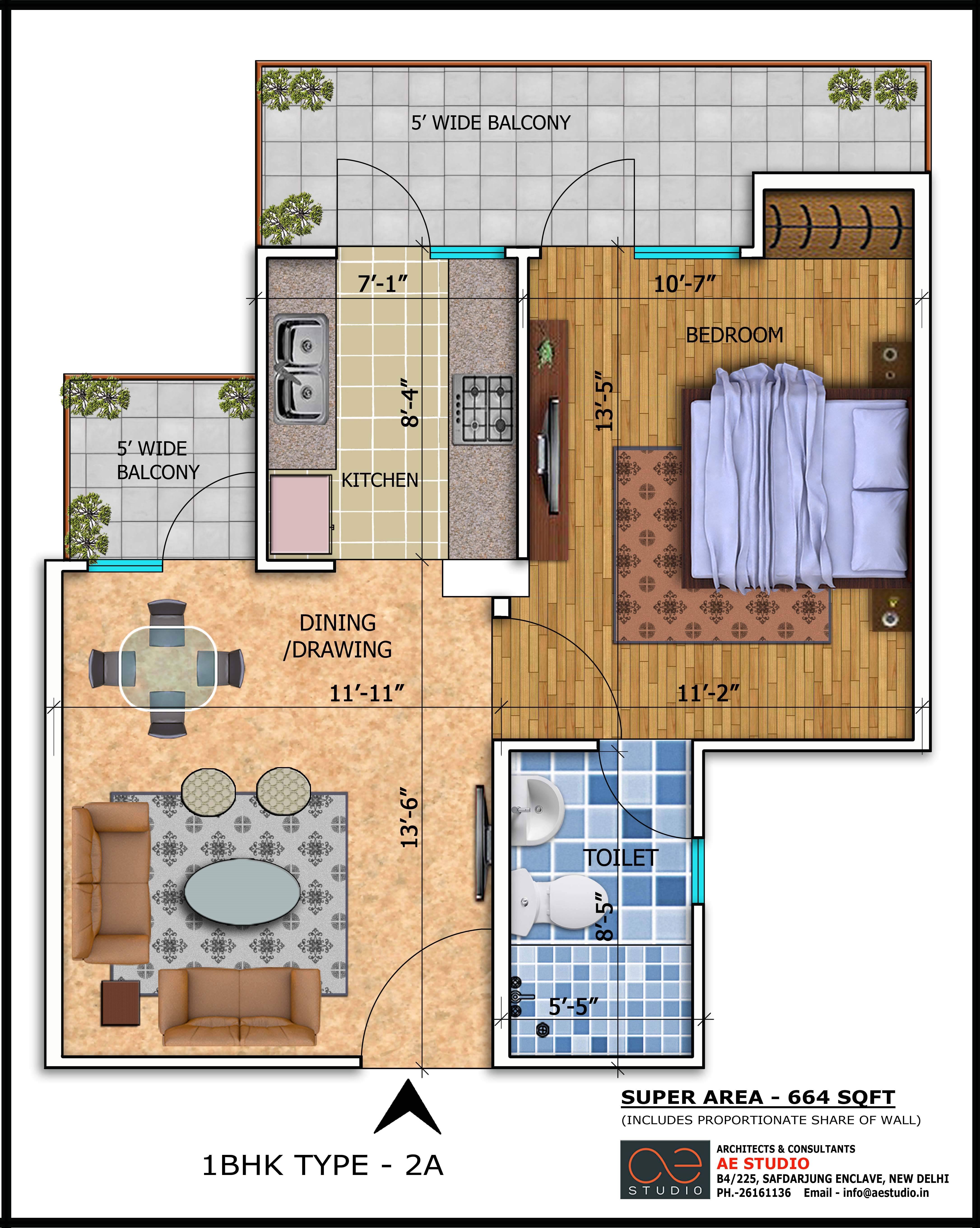 1BHK TYPE 2A