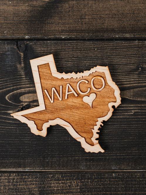 Waco, TX Wood Magnet