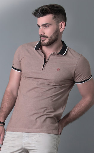 CAMISA POLO PIQUET EVIDENCE DENIM COM ZIPPER