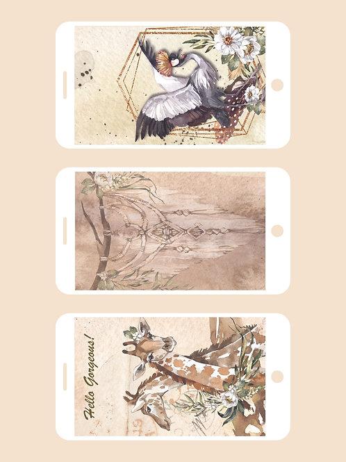 3 Phone Wallpapers, Savannah Set 2